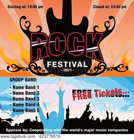 The Rock Festival Vector Concept Is Suitable For The Background Or Banner Of The World's Big Rock Co
