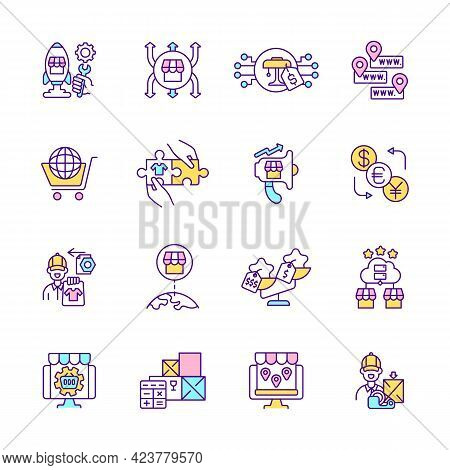 E Commerce Rgb Color Icons Set. Online Buyer Experience. Isolated Vector Illustrations. Target Overs
