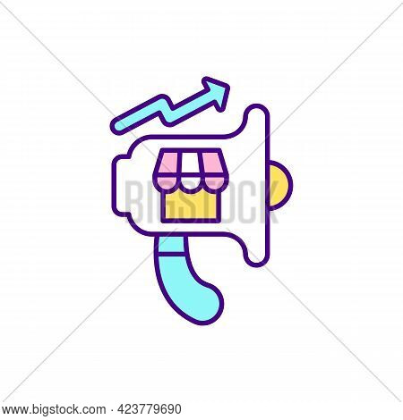 Online Marketplace Promotion Rgb Color Icon. Attracting New Buyers. Isolated Vector Illustration. Pr
