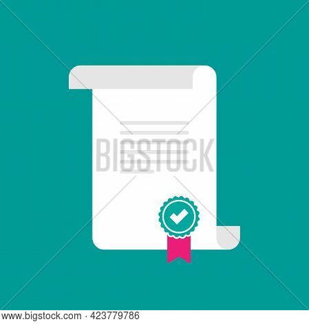 Certificate Or Grant. Course Or Training Diploma With Stamp Or Validation Seal. Legal Document. Lice