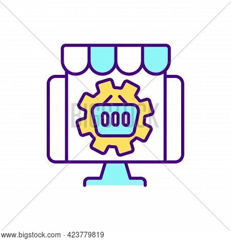 Buying Goods On Marketplace Rgb Color Icon. Online Buyer Experience. Isolated Vector Illustration. P