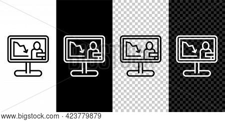 Set Line Global Economic Crisis News Icon Isolated On Black And White, Transparent Background. World