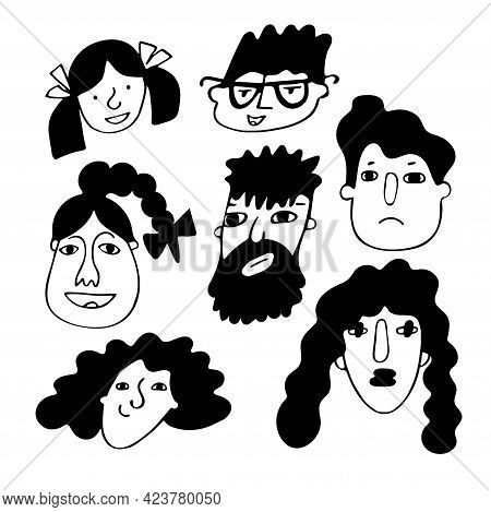 Set Of Funny Doodle Faces In Freehand Black And White Style Isolated On White. Concept Of Love And F