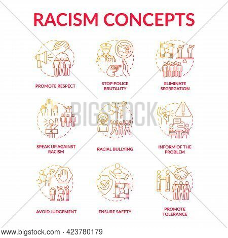Racism Concept Icons Set. Fighting Racial Discrimination And Intolerance Idea Thin Line Color Illust