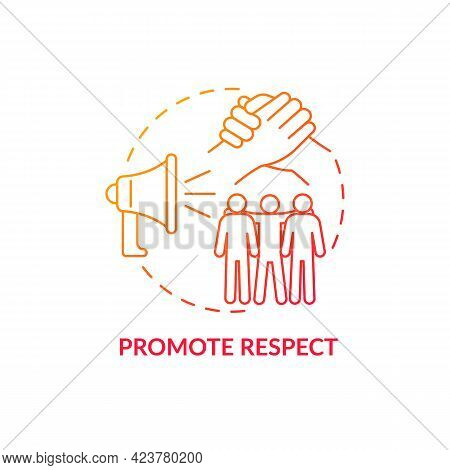 Promote Respect Concept Icon. Fight Racism Abstract Idea Thin Line Illustration. Focus On Social Jus