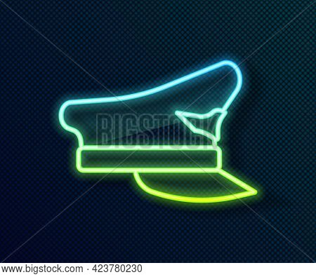 Glowing Neon Line Pilot Hat Icon Isolated On Black Background. Vector