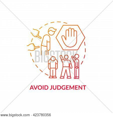 Avoid Judgment Concept Icon. Racism At Work Abstract Idea Thin Line Illustration. Fighting With Nega