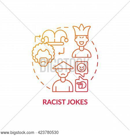 Racist Jokes Concept Icon. Racism In Social Situation Abstract Idea Thin Line Illustration. Offensiv