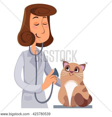 A Veterinarian Listens To A Cat Stethoscope. Vector Illustration In Cartoon Style Fun