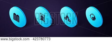 Set Isometric Yin Yang, Church Building, Christian Icon And The Commandments Icon. Vector