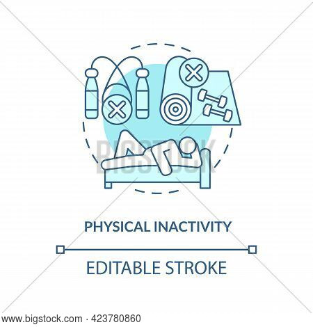 Physical Inactivity Concept Icon. Sitting Or Laying Down During Day. Lazy Lifestyle. Health Issues A