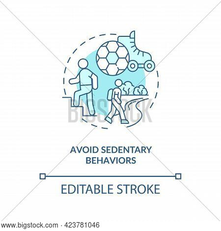 Avoid Sedentary Behaviors Concept Icon. Lazy Lifestyle. Being More Active During Day. Health Abstrac