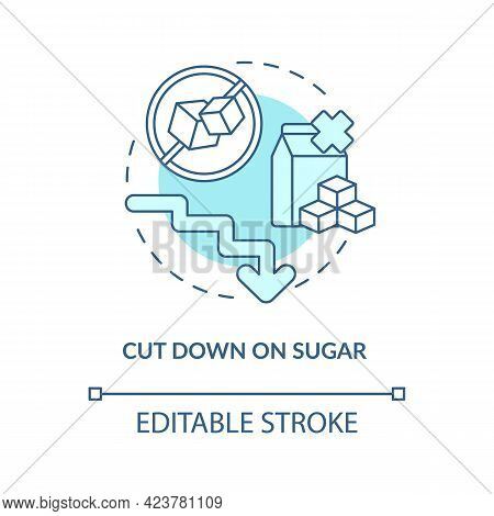Cut Down On Sugar Concept Icon. Decrease Amoun Of Sugar During Day. Health Issues. Not Eating Sweets