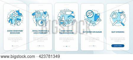 Diabetes Prevention Tips Onboarding Mobile App Page Screen. Sedentary Behavior Walkthrough 5 Steps G