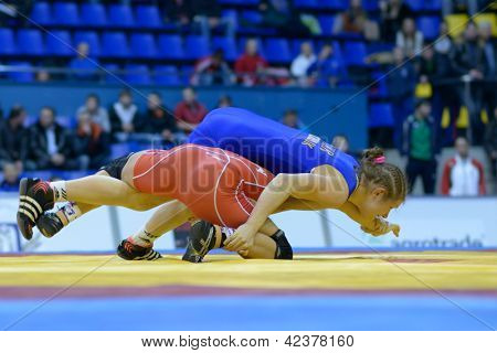 KIEV, UKRAINE - FEBRUARY 16: Match between Barka, Hungary, red and Skobliuk, Ukraine during XIX International freestyle wrestling and female wrestling tournament in Kiev, Ukraine on February 16, 2013