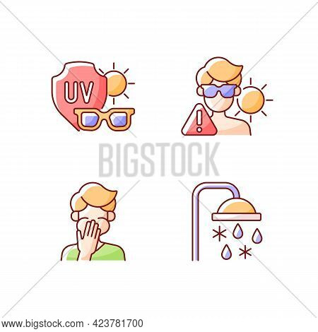 Uv Rays Exposure Risk Rgb Color Icons Set. Sunglasses To Protect Eyes From Sunlight. Cooling Shower.