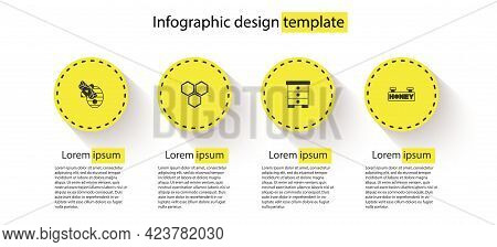 Set Hive For Bees, Honeycomb, And Hanging Sign With Honeycomb. Business Infographic Template. Vector