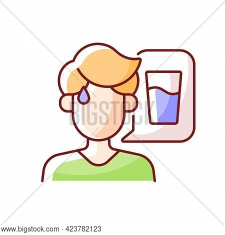 Thirst Rgb Color Icon. Dehydration Symptom During Heat Wave. Sign Of Heatstroke. Lack Of Water. Isol