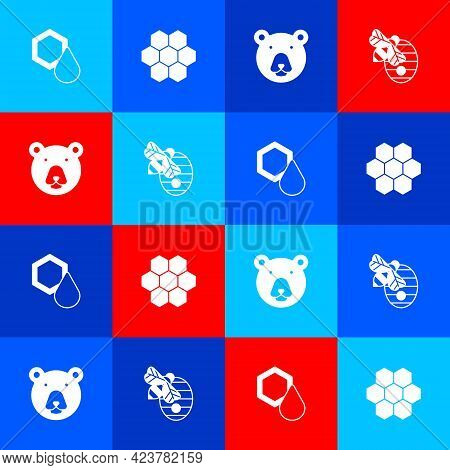 Set Honeycomb, , Bear Head And Hive For Bees Icon. Vector