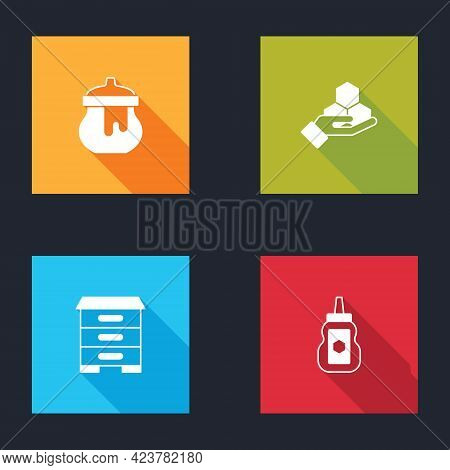 Set Jar Of Honey, Honeycomb And Hand, Hive For Bees And Icon. Vector