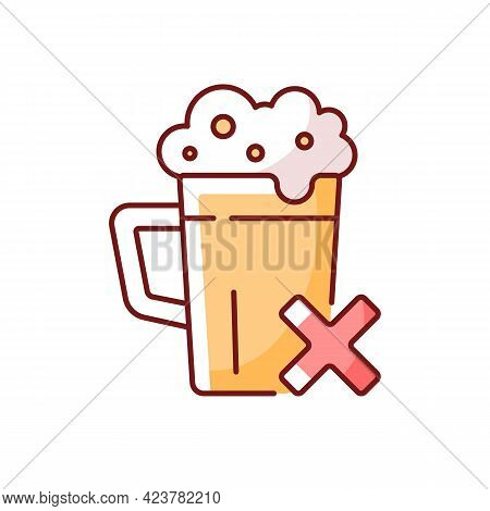 Avoid Alcohol Rgb Color Icon. Diet Restriction For Alcoholic Beverages. Stop Drinking, Alcoholism Pr