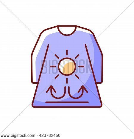 Long Sleeves And Loose Clothing Rgb Color Icon. Female Outfit For Summer Weather. Heatstroke Prevent