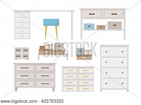 Set Of Modern White Furniture For Home Office Or Bedroom, Livingroom. Chest Of Drawers, Wardrobes, C