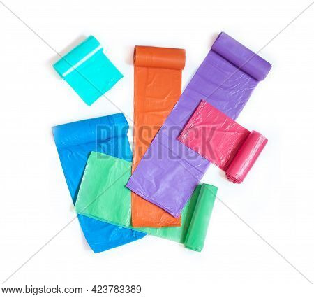 Plastic Garbage Bags Of Different Colors Purple Blue Res Orange Green