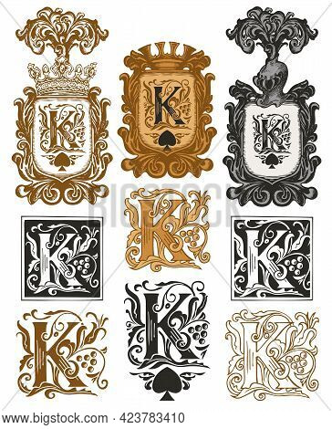 Set Of Ornate Initial Letters K In Vintage Style. Vector Illustration Of Beautiful Filigree Capital
