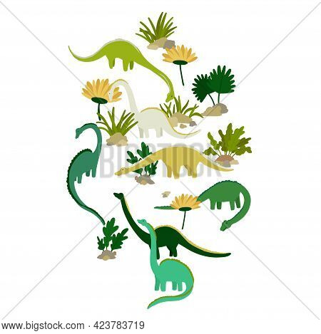 Dinosaurs Brachiosaurus Or Diplodocus. Eating Plants Walking Multicolored Cartoon Characters Print D