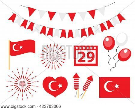 Turkey Independence Day, Turkish National Holiday Icons Set. Vector Illustration