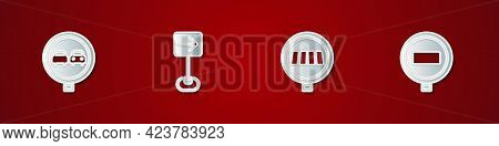 Set No Overtaking Road Traffic, Traffic Sign Turn Right, Pedestrian Crosswalk And Stop Icon. Vector