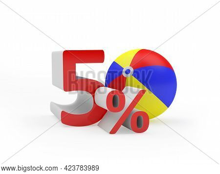 Fifty Percent Discount With Beach Ball Isolated On White. 3d Illustration