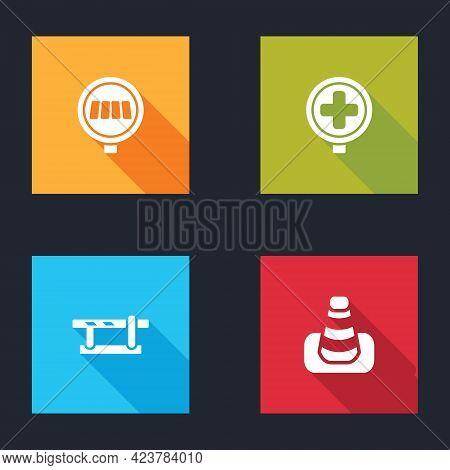 Set Pedestrian Crosswalk, Hospital Road Traffic, Parking Car Barrier And Traffic Cone Icon. Vector