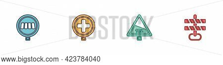 Set Pedestrian Crosswalk, Hospital Road Traffic, Steep Ascent And Descent And Road Barrier Icon. Vec