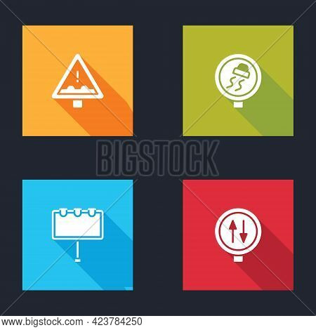 Set Uneven Road Ahead Sign, Slippery Traffic, Billboard With Lights And Road Warning Two Way Icon. V