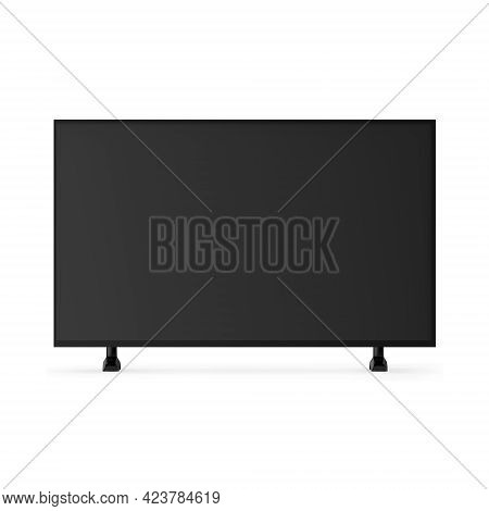 4k Tv Flat Screen Lcd Or Oled Mock Up, Black High Definition Led Plasma Television On Isolated White