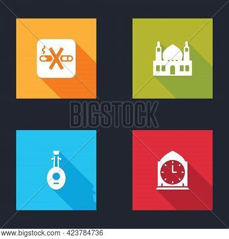 Set No Smoking, Muslim Mosque, Lute And Clock Icon. Vector