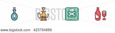 Set Lute, Hookah, No Alcohol And Wine Bottle With Glass Icon. Vector