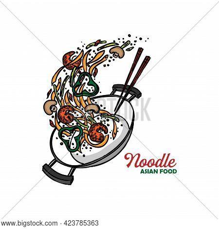 Noodle Chinese Food Design Logo Vector. Illustration Noodle Design Vector