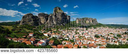 View of scenery landscape and Kalambaka village in famous greek tourist destination Meteora in Greece