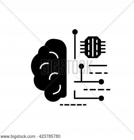 Digital Brain Glyph Icon. Microchip In The Brain. Microcircuit In Human Head. Black Symbol. Isolated
