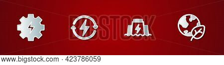 Set Gear And Lightning, Recharging, Hydroelectric Dam And Earth Globe Leaf Icon. Vector