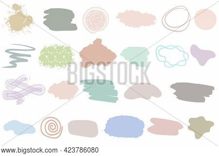 A Set Of Different Spots And Brush Strokes For Design. Vector. Isolated Blots Of Different Colors On