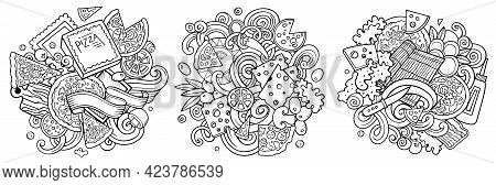 Pizza Cartoon Vector Doodle Designs Set. Sketchy Detailed Compositions With Lot Of Pizzeria Objects