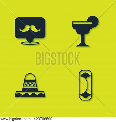 Set Mustache, Burrito, Mexican Sombrero And Margarita Cocktail Icon. Vector