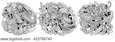 Summer Beach Cartoon Vector Doodle Designs Set. Sketchy Detailed Compositions With Lot Of Summertime