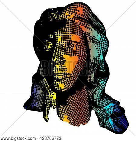 Wow Pop Art Face. Sexy Emotion Girl Vector Colorful 3d Greed Background Cartoon