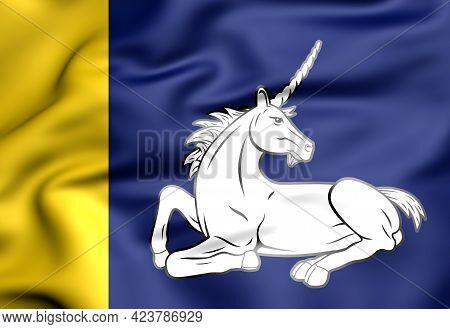 3d Flag Of Menameradiel (friesland), Netherlands. 3d Illustration.