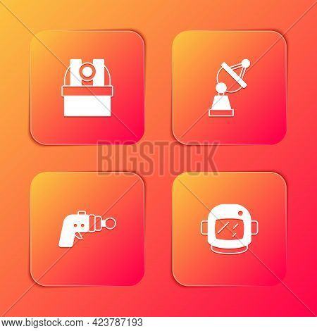 Set Astronomical Observatory, Satellite Dish, Ray Gun And Astronaut Helmet Icon. Vector